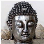 Buddha fej 34cm ezüst